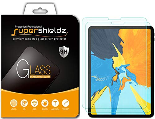 Supershieldz [2-Pack] for Apple iPad Pro 11 inch Screen Protector, [Tempered Glass] Anti-Scratch, Bubble Free, Lifetime Replacement Warranty (2018 Release) [Updated Version]