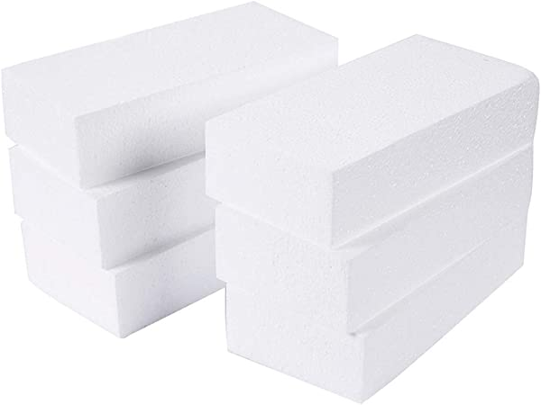 EXCEART 8pcs Craft Foam Blocks White Rectangle Styrofoam Bricks Polystyrene Foam Cube DIY Craft Gifts for Flower Arranging Wedding Party Favors Decoration