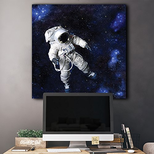 Fully Equipped Astronaut Floating in a Blue Starry Galaxy