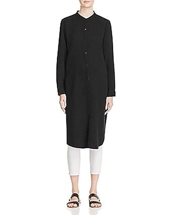 737f2b8a240 Eileen Fisher Black Organic Cotton Gauze Mandarin Collar Shirt Dress ...