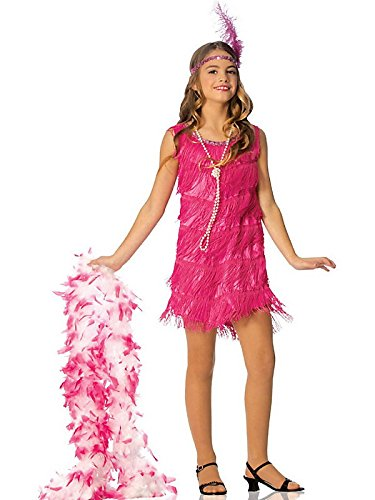 1920 Costumes For Kids (Official Costumes Flapper Kids Costume, Hot Pink,)