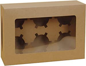 Prudance 9 x 6 x 3 inch Kraft Cake Boxes for Bakery Brown Cupcakes Boxes with Window Cake Take Out Boxes Wedding Cake Boxes for Guests,10 Pack