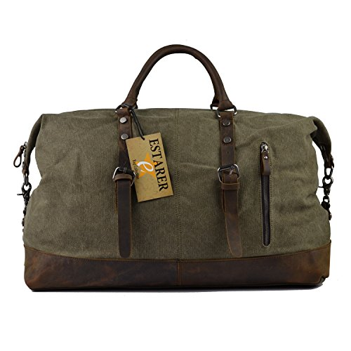 Estarer Canvas Weekend Bag Oversized Travel Duffle Bag for Men Army Green (52 (Cute Duffel Bags)