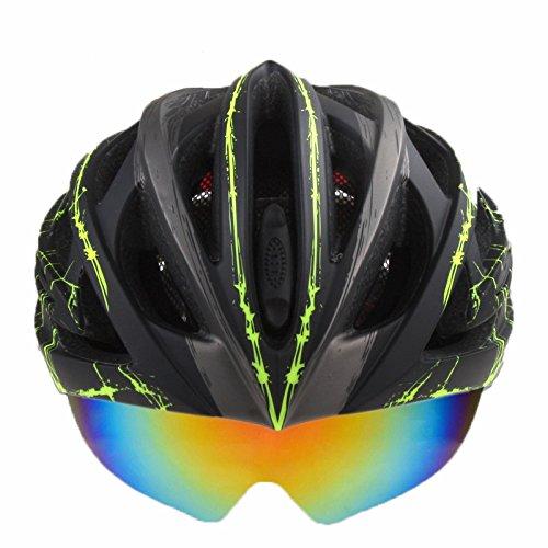 OUTERDO BC-018 Radfahren Fahrradhelm Mit 3 Objektive, polarisierte + Nachtsicht + UV Motorrad Helm integral geformten Helm Sport Helm 26air Vents Für MTB Rennrad Skateboard Grün Sprenkel