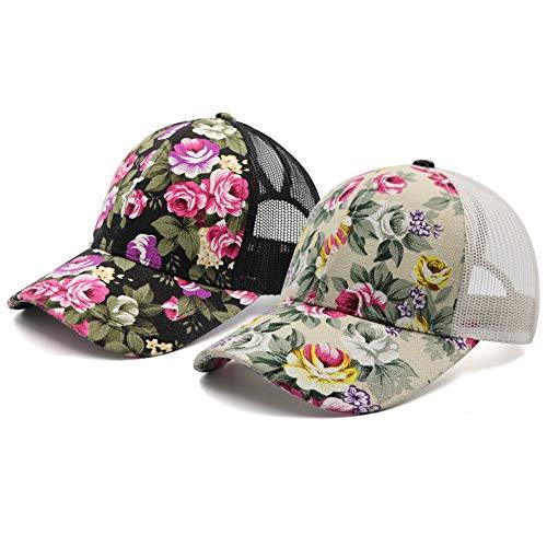Womens Flower Pattern Mesh Trucker Floral Ponytail Baseball Cap Hat PlainMessy HighBuns Mesh Trucker Ponycaps for Girls