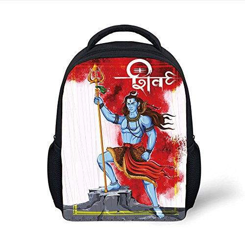 ackpack Ethnic,Mighty Figure Standing on Rock with Trident Religion Worship Theme Ornate Framework,Multicolor Plain Bookbag Travel Daypack ()