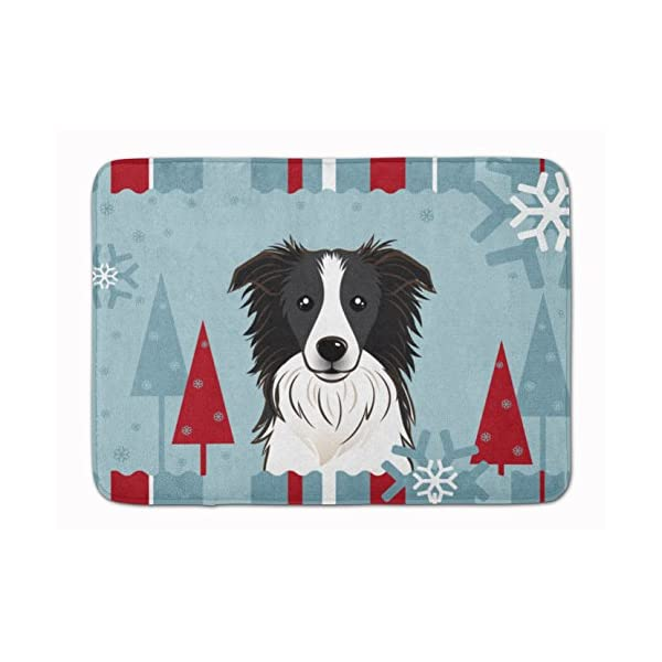 Caroline's Treasures BB1737RUG Winter Holiday Border Collie Machine Washable Memory Foam Mat, 19 X 27, Multicolor 1