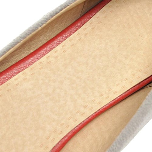Talón Vamp Profunda Boca Spring Gris Rojo Gris Zapatos Tacones Scrub Pendiente Poco Negro Mujer De 6cm Medio WnqPSrqwI