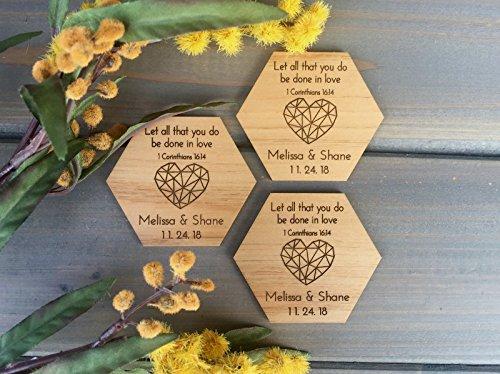 Wedding Favor Magnets - Hexagon and Heart - Christian Wedding Favors - Engraved Favor Magnets (Set of 25)]()
