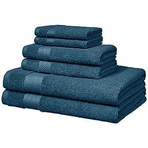 AmazonBasics – Toallas de altas prestaciones, 2 de baño, 2 de mano y 2 de lavabo, Azul agua 513NO9sM1lL