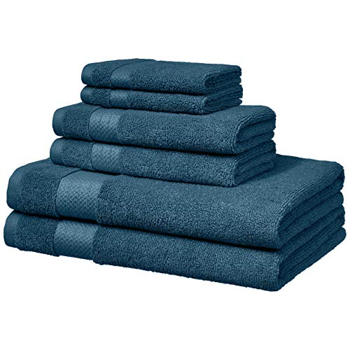 (AmazonBasics Performance Bath Towels - 6 Piece Set, Hydro Blue)