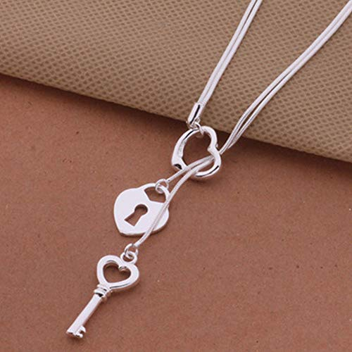 Silver Plated Key Pendant Fashion Cute Charms Women Necklace Jewelry ()