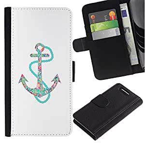 For Sony Xperia Z3 Compact Case , Clean Floral Glitter Teal Anchor - la tarjeta de Crédito Slots PU Funda de cuero Monedero caso cubierta de piel