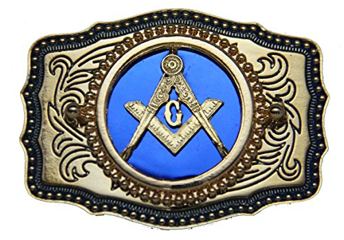 Genuine Texas Brand Blue Square and Compasses Masonic Belt Buckle Made in USA - Mason Belt Buckle