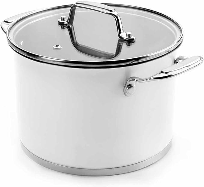 Cacerola20-24,Olla20-24 y Cazo16 Bateria De Cocina De 5 Piezas - Blanco 43005 Lacor