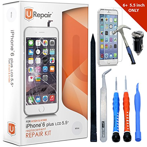iPhone 6 Plus Screen Replacement White LCD Premium Repair Kit with Tools - Easy Manuals Videos and Instructions - FOR iPHONE 6 NOT 6S with USB Car Charger