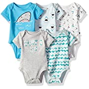 Rosie Pope Baby 5 Pack Bodysuits (More Colors Available), Sharks/Waves, 6-9 Months