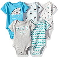 Rosie Pope Baby Bodysuits 5 Pack, Sharks/Waves, 6-9 Months