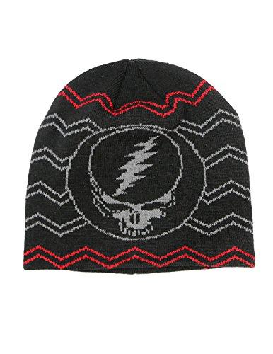 Grateful Dead Steal Your Face Knit Beanie Skull Cap Winter Hat - Black