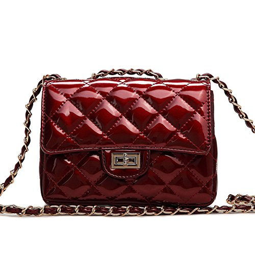 Small Gold Chain Quilted Shoulder Bag Mini Cross Body Women Handbag Clutch Classic Evening Bag (20187cm),Burgundy-20187cm (Envelope Style Convertible Clutch)