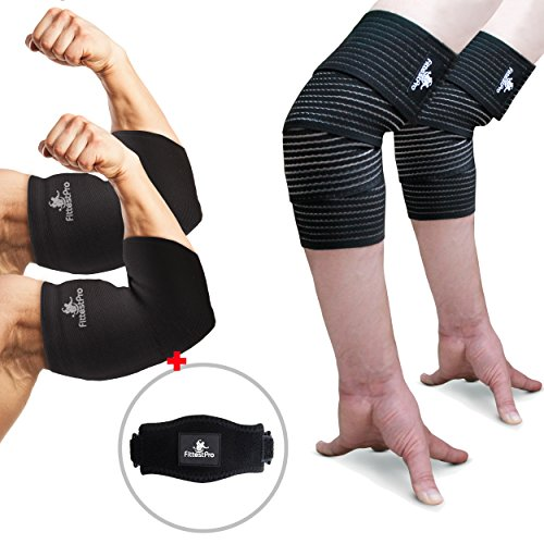 Elbow Sleeve Package (Pack of 5) - Elbow Compression Sleeve (1 Pair) & Elbow Wrap (1 Pair) with (1 Piece) Elbow Strap - Sleeve/Brace For Relief of Golfers, Tennis Elbow & Joint Tendonitis (X-Large)