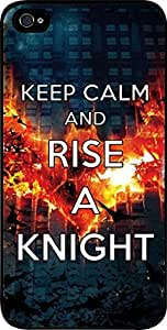 Keep Calm and Rise a Knight - Flames- Hard Black Plastic Snap - On Case -Apple Iphone 6 Plus ONLY- Great Quality!