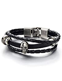 Mens Women Skull Black Braided Leather Bracelet Multi-strand Leather Wristband Wrap Bracelet