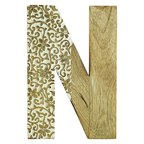 Aheli Wooden Floral Carved Home Wall Decor Sign Alphabet Letter 'N' Bollywood Wedding Parties Decorations