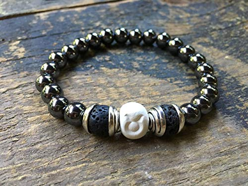 Men Zodiac Taurus Bracelet, Clay | Hematite | Lava Beads, Essential Oil Diffuser, Astrology Jewelry, 9MM Round