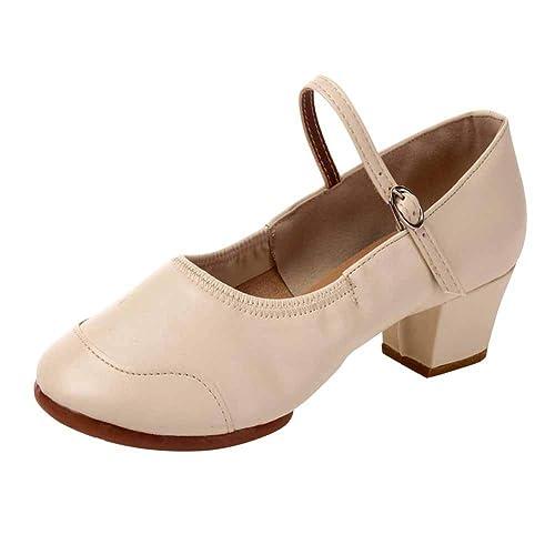 1472ca10 Daytwork Moderno Latino Danza Zapatos Mujer - Señoras Cuero Zapatos Alto  Tacón Mary Jane Salón de Baile Sandalias Standard Tango Salsa Samba  Performance ...