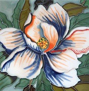 Magnolia Flower Decorative Ceramic Wall Art Tile 4x4