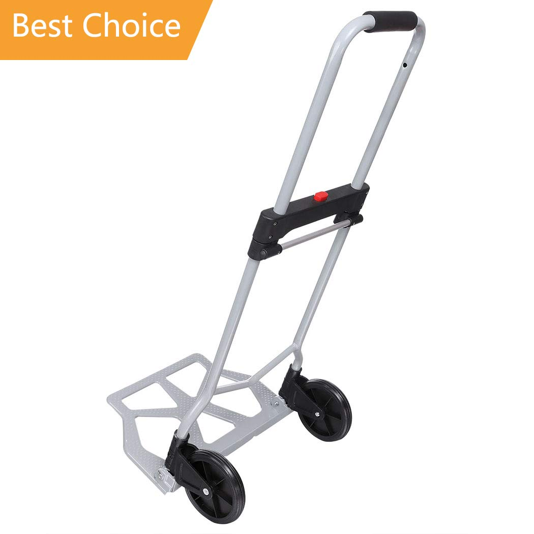 PEATAO Aluminum Folding Hand Truck with 2 Rubber Wheels, Heavy Duty Handle Utility Cart for Luggage, Travel [US Stock] (220LB)