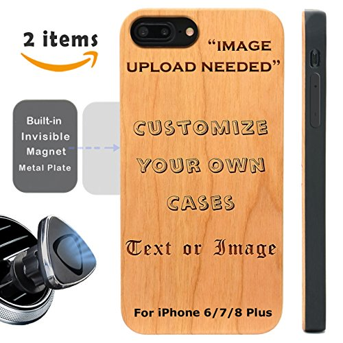Engravable Rose (Make Your iPhone Plus Case with Picture - iProductsUS iPhone Plus Case Engrave Your Picture and Words,Built-in Metal Plate,Cover TPU Rubber Protective iPhone Plus Wood Case (5.5