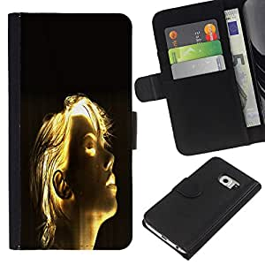 KingStore / Leather Etui en cuir / Samsung Galaxy S6 EDGE / Luminoso Chica Sci Fi