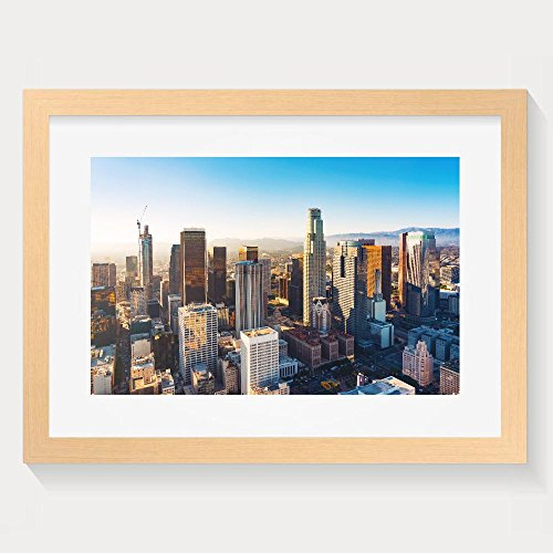 ZhiqianDF Latest Aerial View Of A Downtown Los Angeles At Sunset Framed Wall Art Prints - Eyeglass Frames Los Angeles