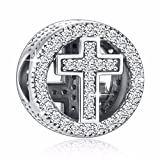 925 Sterling Silver CZ Cross Charms'' With God All Things Are Possible'' Fit European Snake Bracelets
