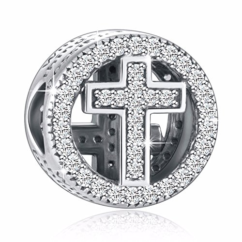 (925 Sterling Silver CZ Cross Charms with God All Things are Possible Fit European Snake Bracelets)