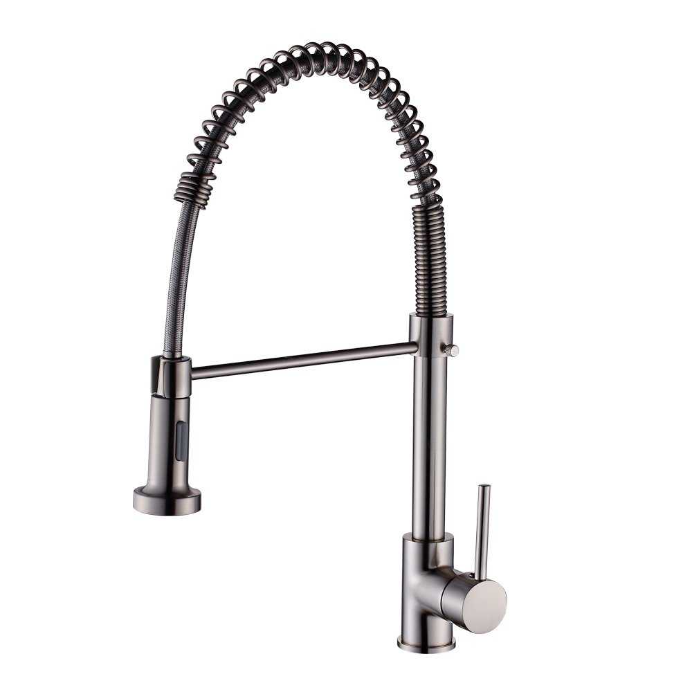 Kitchen Sink Faucet with Pull Out Down Spray, High Grade 360 Degree Rotation Kitchen Faucet, Brass Luxury Water Faucet, Single Handle, Easy Installation