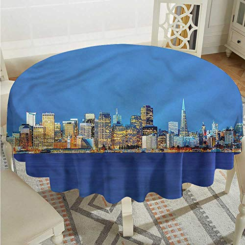 (Tim1Beve USA Waterproof Table Cover Night Travel SF Destination Modern Minimalist D70)