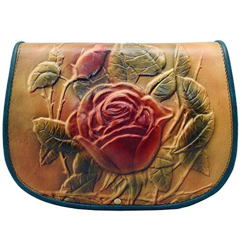 Koson piel rosa hecho a mano Satchel Bolso de hombro Messenger Bag