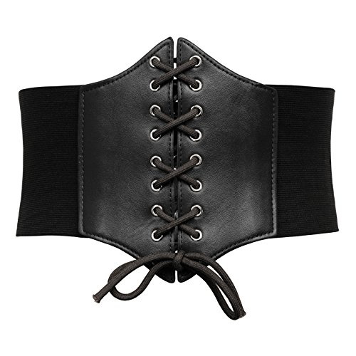 Women's Lace Up Corset Elastic Wide Waist Pirate Costume Cincher Belt(S,Black)