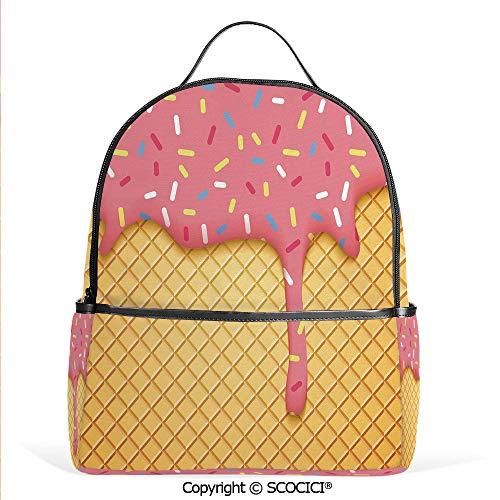 Lightweight Chic Bookbag Waffle Pattern with Cherry Flavor on Yummy Summer Dessert Cute Image Decorative,Mustard Coral,Satchel Travel Bag Daypack