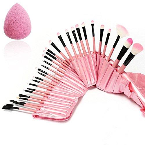 Luckyfine Pink Professional 32pcs Makeup Brushes Set Soft Cosmetic Foundation Blush Eyeliner Makeup Brush Kit with Travel Pouch and Sponge Gift Kit