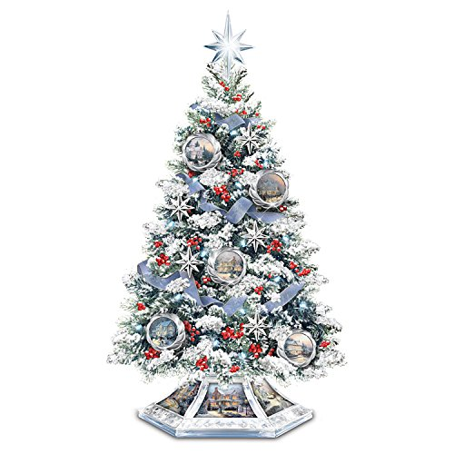 Thomas Kinkade Musical Christmas Tabletop Tree With Crystal Base: Lights Up by The Bradford - Kinkade Thomas Tree Illuminated