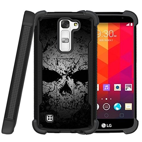 - MINITURTLE Case Compatible w/ Miniturtle | LG K8 |LG Escape 3 |LG Phoenix 2 Case [Shockwave Armor]High Impact Two Layer Case w/ Stand + Tempered Glass Faded Skull