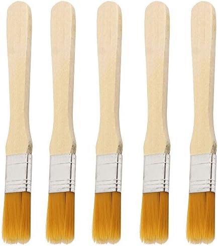 Myoffice ブラシ絵画 画家アーティスト 油絵描画ブラシ 油絵用筆 画筆 木製ハンドル 1.4cmワイド 5個入り (5個入り)