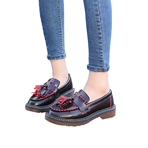 Tassel Lady¡¯s Loafers Red Flat Shoes Boat Moccasins Smilun nApRwqRW