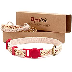Pettsie Cat Collar Breakaway Safety and Friendship Bracelet for You, Durable 100% Cotton for Extra Safety, D-Ring for Accessories, Comfortable and Soft Cotton, Easy Adjustable Size 7.5-11.5 Inch