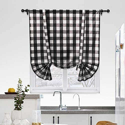 NATUS WEAVER Cotton Tie Up Curtain for Kitchen Window, Buffalo Check Plaid Gingham Farmhouse Rod Pocket Adjustable Tie Up Shades for Kitchen Cafe Bathroom, 42 x 54 Inches, Black and White