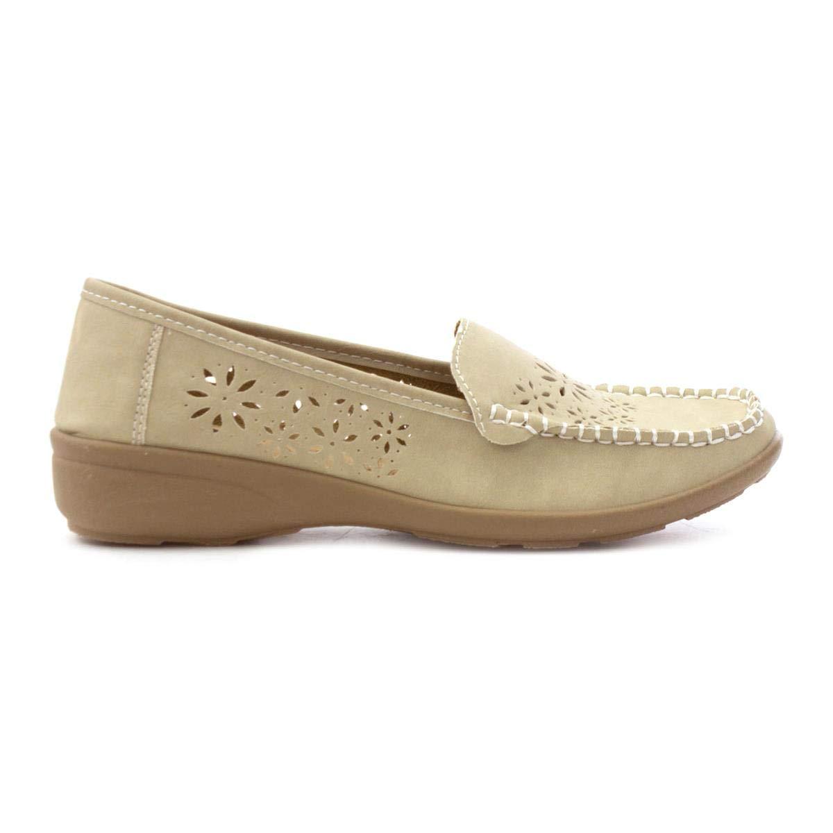 Softlites Womens Beige Casual Loafer Shoe SOFT-LITES